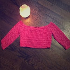 Flirty Fuschia Off-Shoulder Crop Top Size Small